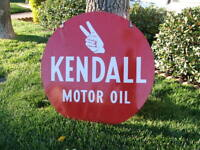 "HUGE 28 3/4"" Vintage ORIGINAL DOUBLE-SIDED KENDALL MOTOR OIL ADVERTISING SIGN"