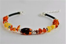 Handmade Light Multicolour Amber Bracelet with Silver