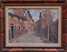VICOLO - CLAUDIO PALLINI - Dipinto Originale a Olio 1973 50x70 Livorno Painting