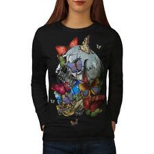 Wellcoda Skull Butterfly Head Art Womens Long Sleeve T-shirt, Mad Casual Design