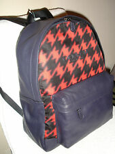 NWT COACH F71755 Red Houndstooth Campus Backpack Printed Nylon bag
