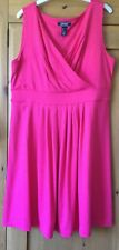 Brand New Lands End Hot Pink Dress with flattering wrap-over bodice size L:14-16