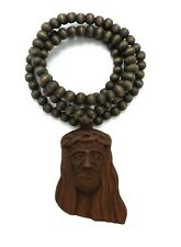 NEW JAY-Z BROWN WOODEN JESUS NECKLACE