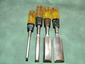 Vintage Chisels - 3 Buck Bros. & 1 Stanley - Metal Capped Handles