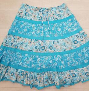 BM A-Line Midi Skirt Size L Blue Floral Elastic Waist Summer Holiday