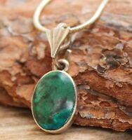 Vintage Necklace Malachite Sterling Silver 925 Green Jewellery Retro Jewelry