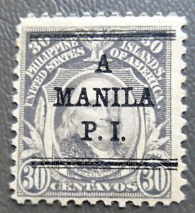 """Philippines 1917 30¢ Stamp with """"A Manila"""" Overprint #299 MH"""