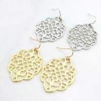 New Women Filigree Earrings Curlique Swirl Shaped Metal Morocco Hook Drop Dangle