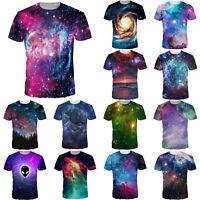 Women Men 3D Galaxy Printed Cool Summer T-shirt Unisex Short Sleeve Star Top Tee