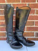 Der Dau Equestrian Tall Black Riding Boots Size 10.5 Custom Made Riding Boots