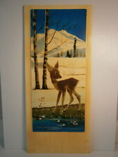 """Cute Baby Deer Young Fawn 1970s Vtg Picture 17"""" Snow Mountains Spring Painting"""