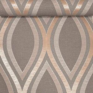 Charcoal Grey Metallic Rose Gold Waves Slight Imperfect Textured Vinyl Wallpaper