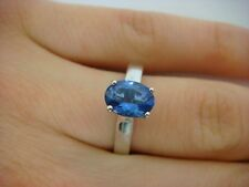 1 CARAT TANZANITE AAA COLOR & 2 DIAMONDS CATHEDRAL LADIES RING, SIZE 6.75