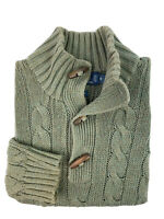 Ralph Lauren Men's Small Green Brown Cable Knit Silk Toggle Button Mock Sweater