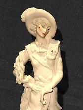 Retired Guiseppe Armani Lady Poodle on a Leash Capo Di Monte Figurine