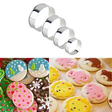 4Pcs/set Stainless Steel Round Circle Shaped Cookie Cutter Biscuit Pastry Molds