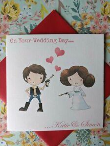Handmade Personalised Han Solo Princess Leia Star Wars Wedding Card