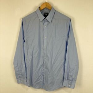 H&M Mens Button Up Shirt Size M Medium Slim Blue Long Sleeve Collared
