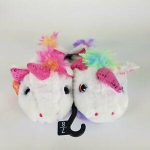 Wonder Nation Little Girls Unicorn Fuzzy Slippers Size 7 8 Pink Purple Bling