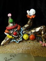 Vtg 83 Signed 24KT Collectible Ron Lee Bronze Clown Sculpture~Painted~Onyx Base