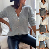 Women's Long Sleeve V Neck Lace Loose Knitted Sweater Ladies Casual Jumper Tops