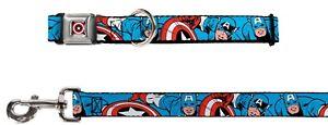 Buckle Down Seatbelt Dog Collar or Leash - Marvel Captain America - S M L - USA