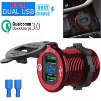 12/24V Car Cigarette Lighter Socket Splitter +Dual USB QC 3.0 Charger Outlet 36W