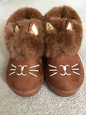 Cat Shoes or Slippers Faux Fur & Faux Suede, Sturdy Sole - size 37