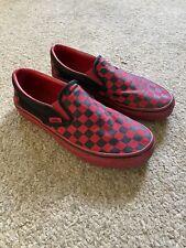 Vans Slip On Red Black Checkered Mens 7 Womens 8.5