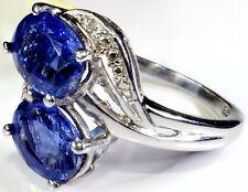 Himalayan Kyanite, Diamond Ring Platinum Over Sterling Silver Size 7 TGW 3.28 ct