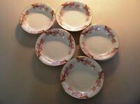 Asahi China Cherry Pattern Set Of Five Rimmed Soup Bowls