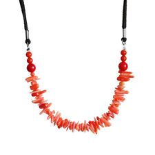 Natural Pink Coral Chip Shape Pendant Necklace with Black Velvet Cord