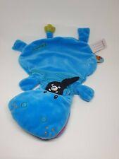 23 - Doudou plat Arnold hippopotame bleu pirate  LILLIPUTIENS  NEUF