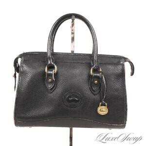 Vintage Dooney & Bourke Made in USA Black Pebbled Leather Zip Top Satchel Bag NR