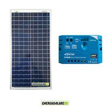 Kit Solare Fotovoltaico pannello 30W 12V Regolatore PWM 5A Camper Casa Nautica