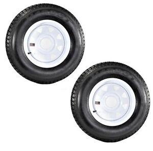 2-Pack Trailer Tire On Rim ST175/80D13 175/80 D 13 in. LRC 5 Hole White Spoke