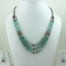 NECKLACE EARRINGS NATURAL NEON APATITE GEMSTONE BEADED 5 MM HANDMADE 40 GRAMS