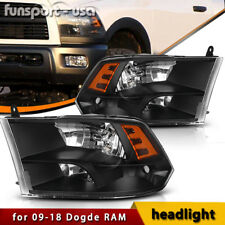 For 2009-2018 Dodge Ram 1500/2500/3500 Black Quad Headlights Assembly Lamp LH+RH