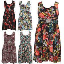 Floral Sleeveless Knee Length Dresses Plus Size for Women