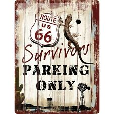 Nostalgie Blechschild - Route 66 - Survivors parking only - Blechschilder