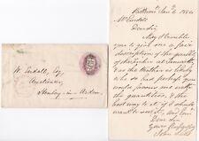 # 1854 WEST BROMWICH UDC HILLTOP 1d PINK ENVELOPE & JOHN LEES LETTER >HENLEY I A