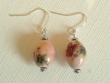 Pink floral ceramic earrings
