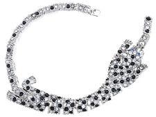 Ali-Market Silver Tone Relaxed Sleeping Leopard Crystal Element Bracelet Bangle