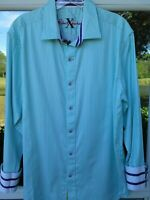 Robert Graham X Cotton Tailored Fit Green White Striped Casual Shirt Large EUC