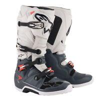 NEW 2019 Alpinestars Tech 7 MX Motocross Boots - Dark Grey/Lighe Grey/Red Fluo