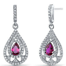 Created Ruby Chandelier Drop Earrings Sterling Silver 1 Carats