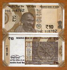 India, 10 Rupees, 2017, P-New, UNC > Gandhi, Redesigned
