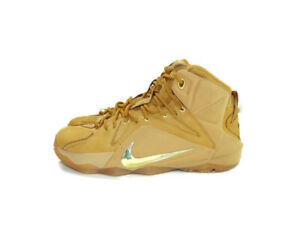 Nike Sneakers Brown Gold Lebron 12 XII Ext Wheat Basketball Training Mens 7.5