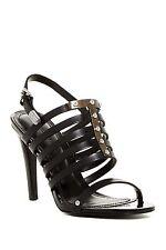 DIESEL NIB Aila Heel Caged Sandal Strappy Leather Metal Black Pump 10/41 $245