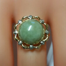 ANTIQUE 9k NATURAL JADE & DIAMONDS YELLOW GOLD RING, SIZE 9, 4.9grms, STAMPED